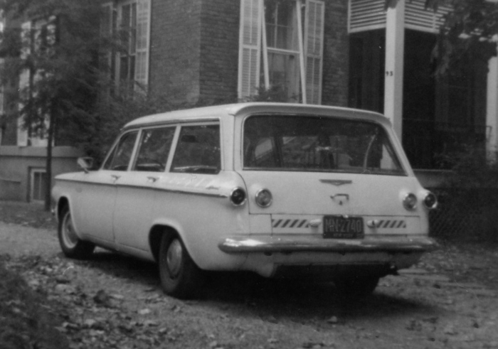 The Corvair from the rear. My father added the reflector stickers. Both these photos taken Nov. 1966 in our driveway at 95 Highview Ave. on Staten Island.