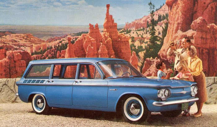 A publicity postcard for the 1961 Chevrolet Corvair station wagon. From the author's collection.