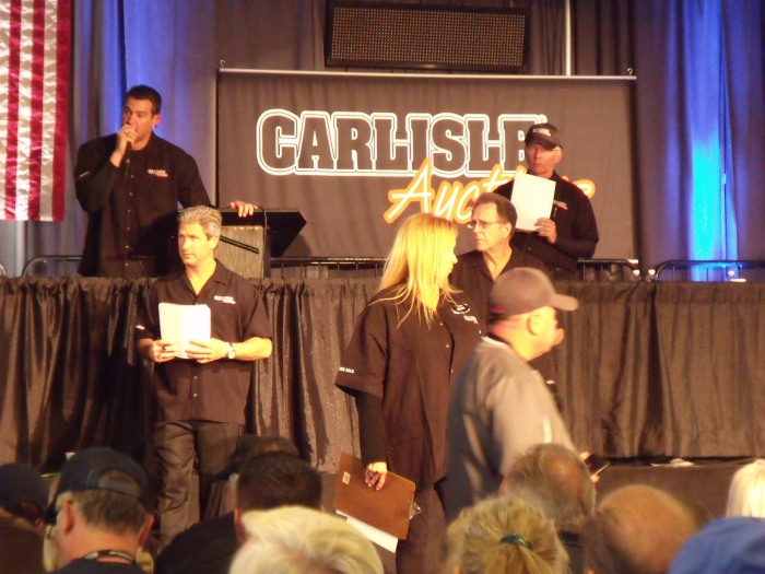 The auction block at the Carlisle Expo Center