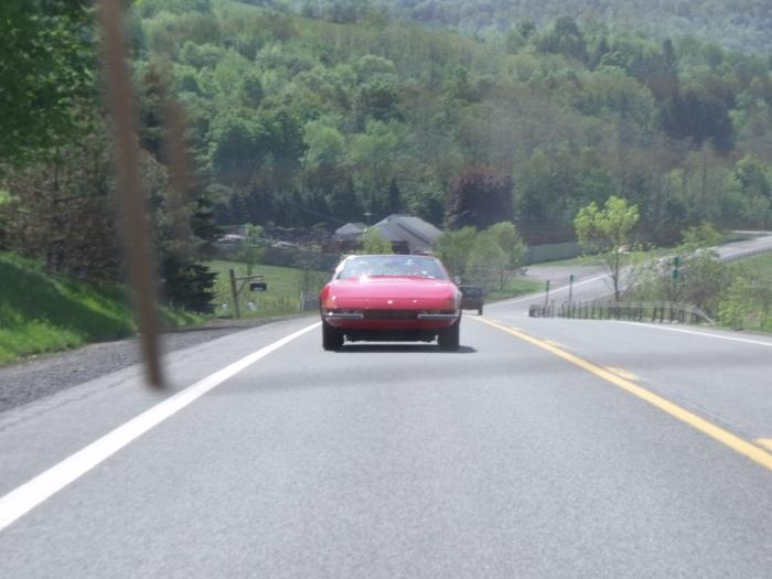 Ferrari Daytona spyder in motion.