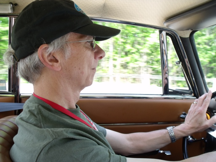 Steve Hansen enjoying his time behind the wheel of the Alfa.