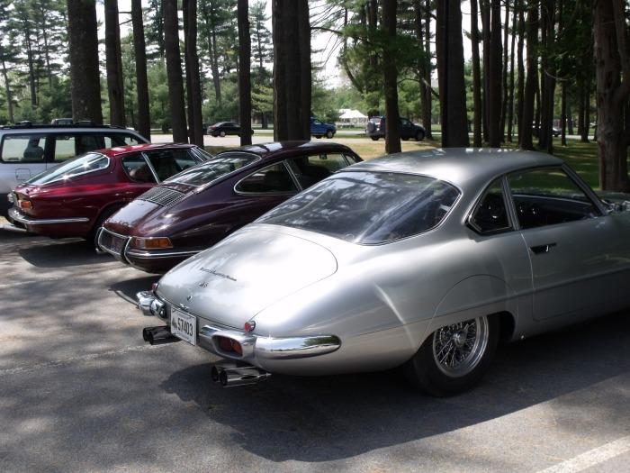 Left to right: Maserati Mistral, Porsche 911, Ferrari 250 GT Specials.