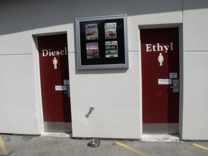 The Hemmings rest room doors.