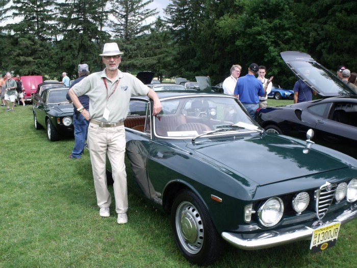 Second place: '67 Alfa GT 1300 Jr (that hat looks familiar).