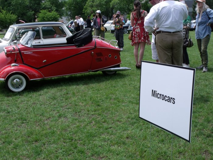 Microcars on display included this rare Messerschmitt cabrio.