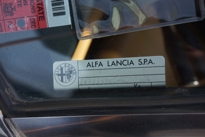 "VIN plate verifies that in 1991, official company name was ""Alfa Lancia"""