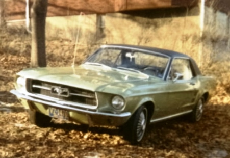 My dad's '67 Mustang, photo taken by me in our yard in 1969