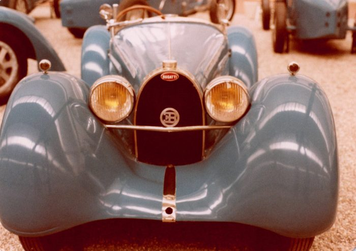 A Bugatti of unknown vintage; note the EB on headlight bar