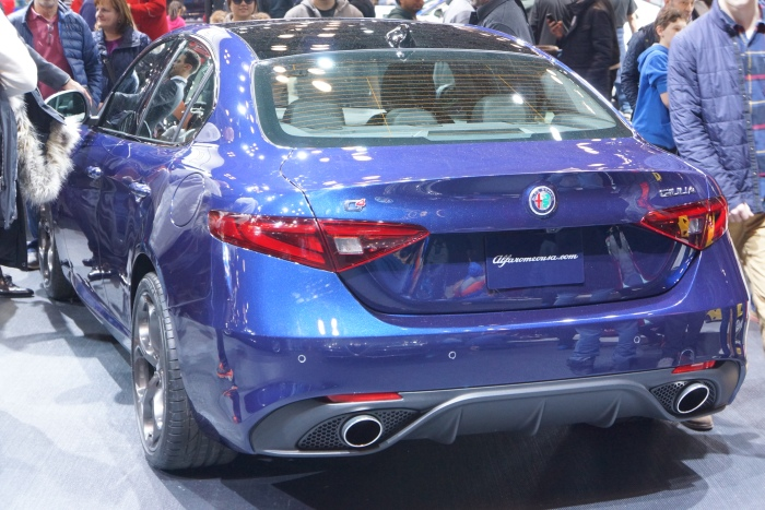 The back end of the new Alfa Romeo Giulia sedan
