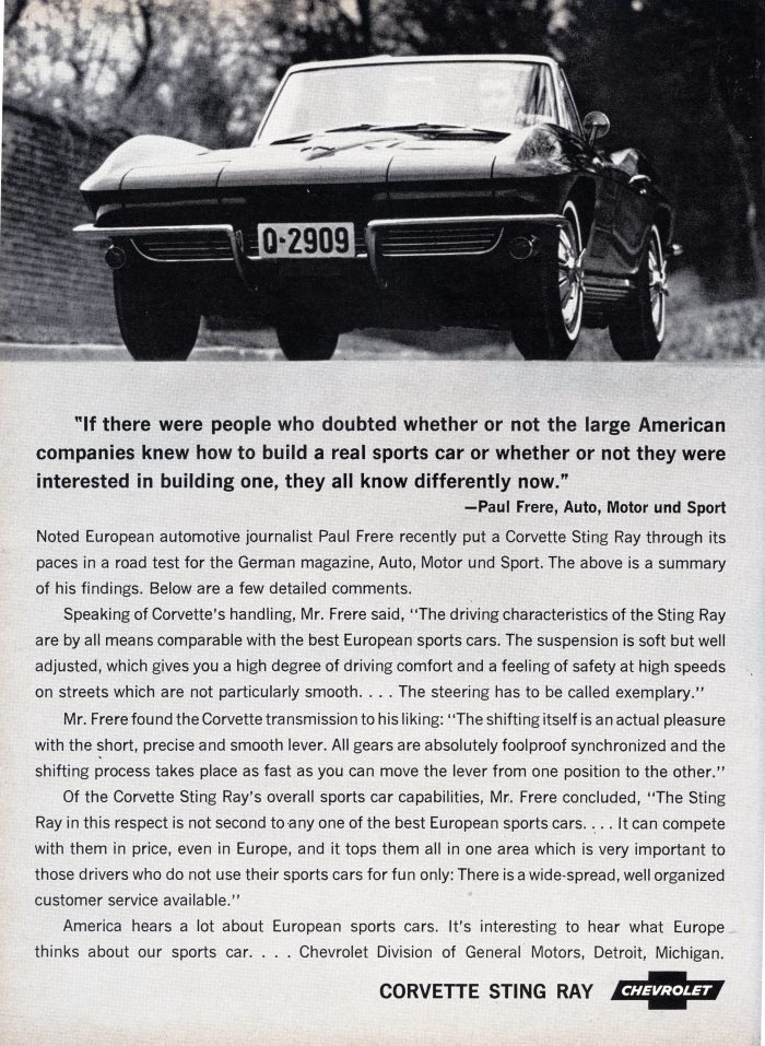 This B&W Corvette ad has more space devoted to text than to photos