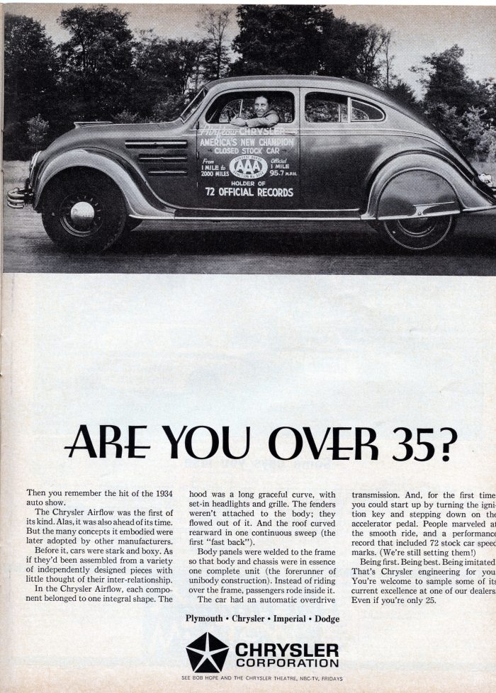 A 1964 Chrysler ad featuring a 1934 Airflow