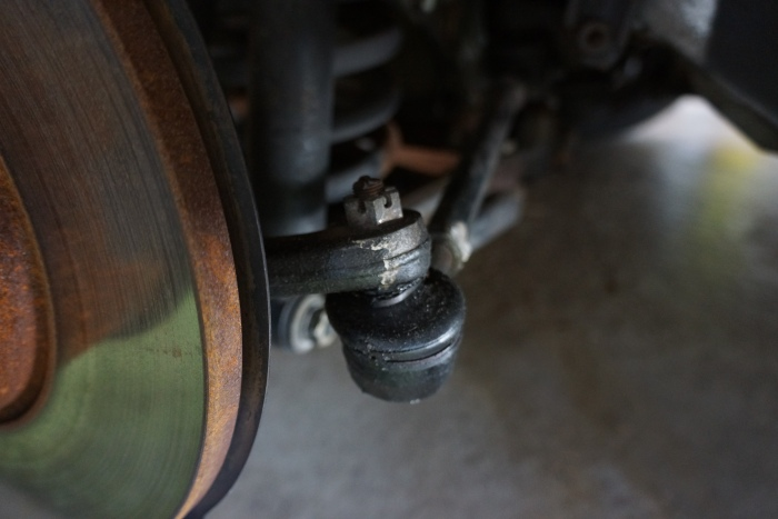 One of the outer tie rod ends, about to meet its demise
