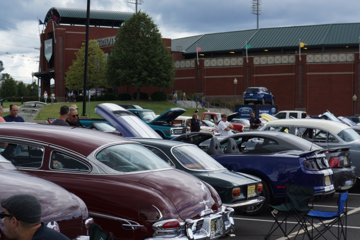 Display cars in the parking lot, with TD Bank Ballpark in the backgroud