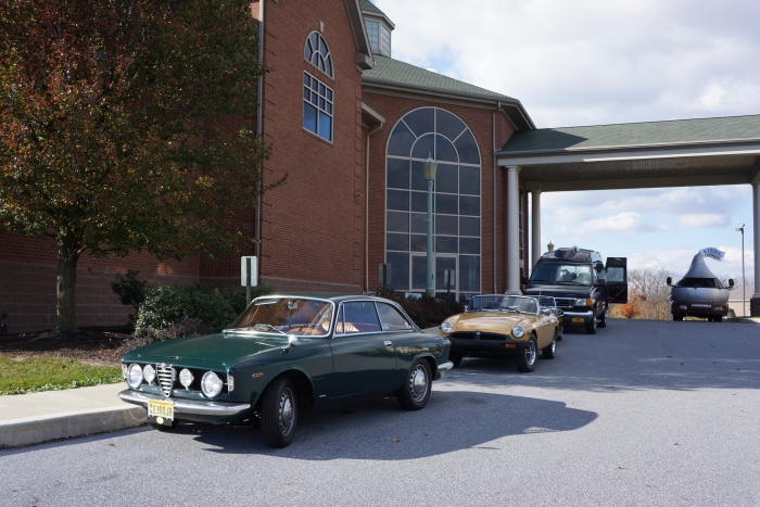 The Alfa arrives at the AACA Museum. The Hershey Kissmobile was also visiting.