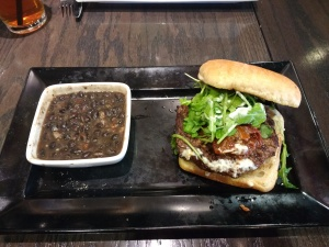 Hamburger with arugula, spicy black beans; does it get any better?