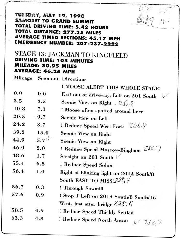 A page from the route book; a working, accurate odometer is presumed
