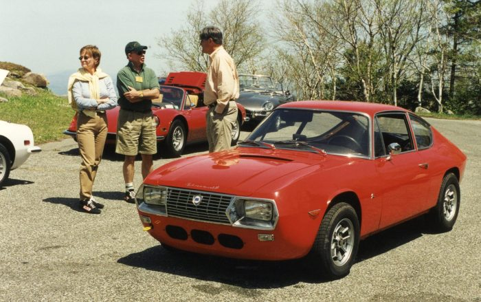 Lancia Fulvia Zagato rests between stages; drivers break too