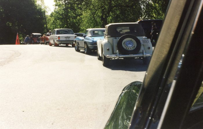 Morgan, Alfa, Volvo, Stingray, MG in front of us