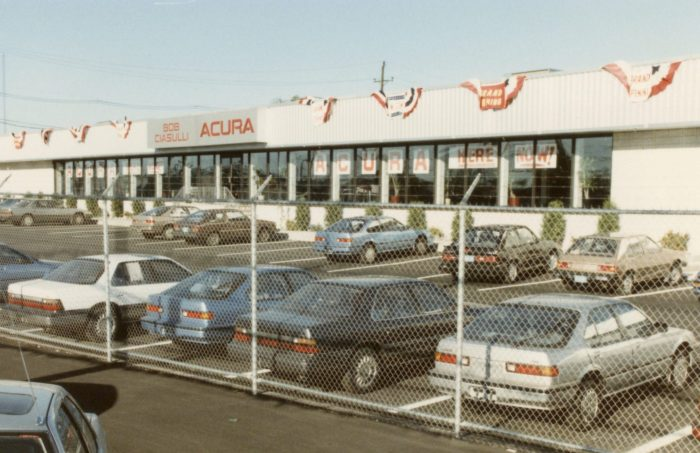 By the summer of '86, the showroom was done. The entire lot was fenced.