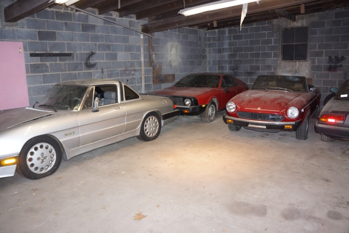 The Alfa Spider, keeping company with a Lancia Scorpion and Fiat 124 Spider