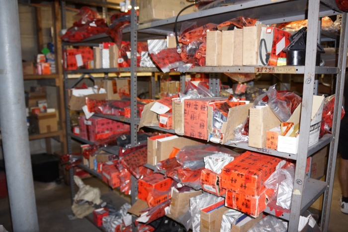 A sample of the wares in the basement parts department