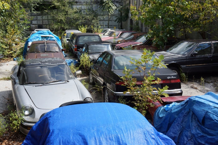 The scene out back was most heartbreaking, as cars were exposed to the elements