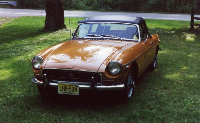 Spring of 2001: the MGB on the front lawn of our new home