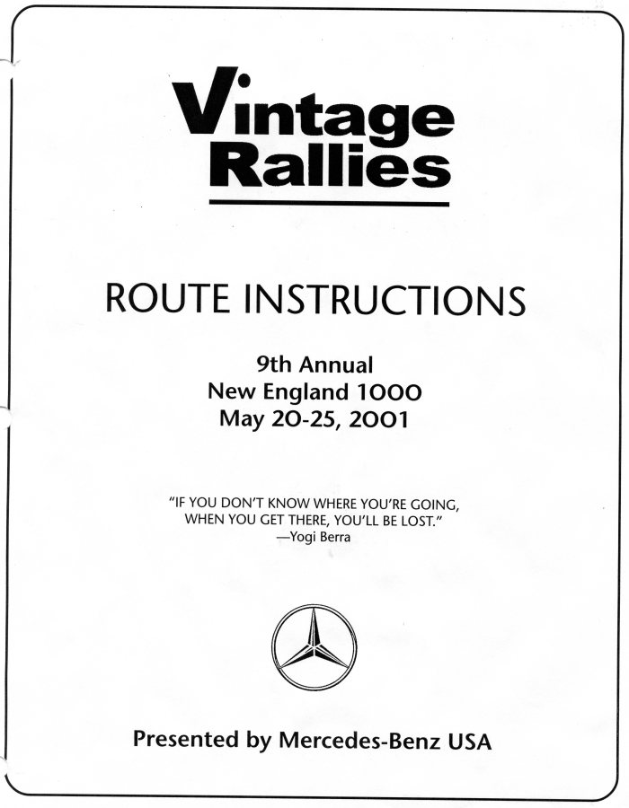 Cover page of our route instructions; the rally at this time was still sponsored by M-B