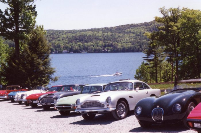 Beautiful backdrop for classic car lineup