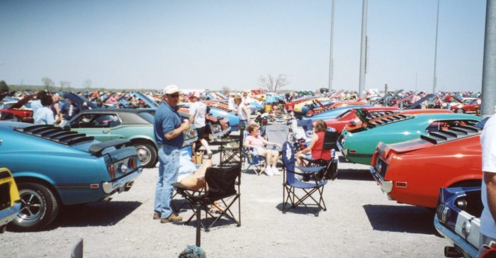 Show revelers happily tailgate on the gravel