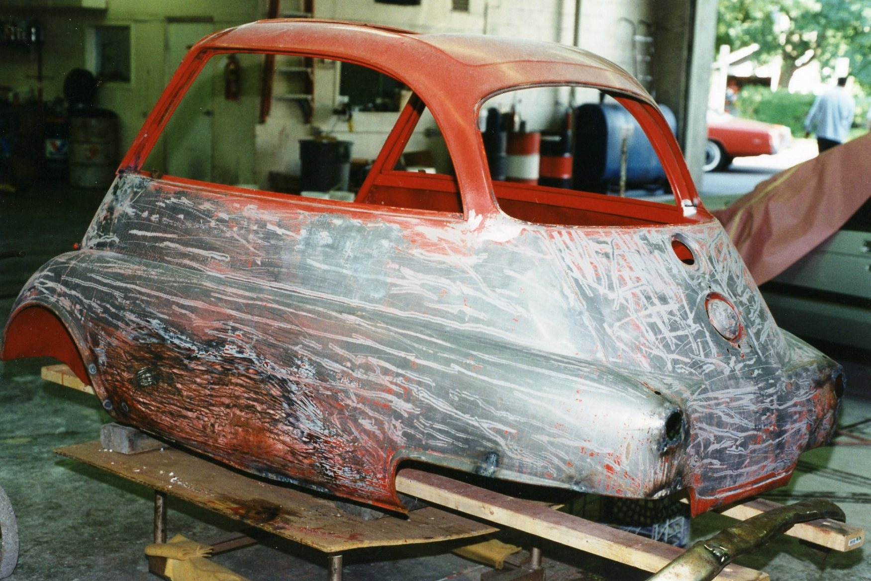 """during this visit, jody and i also finalized the choice of paint color   there was no known """"official 1957 bmw isetta paint code chart"""" we could  refer to,"""